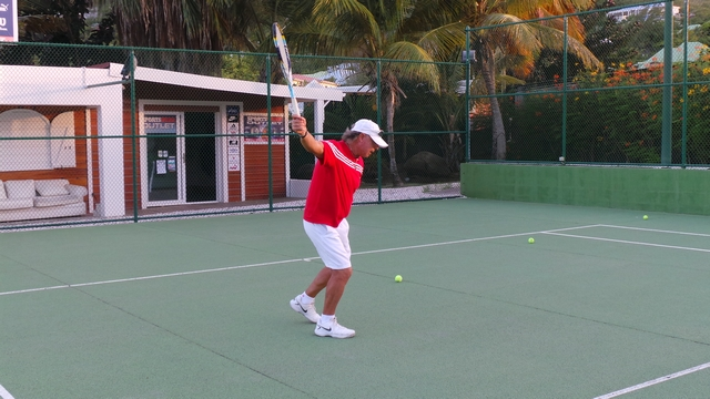 Oliver demonstrating the perfect backhand movement